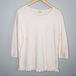 Talbots Cream White Speckled Ruffle Sweater |Sz LP